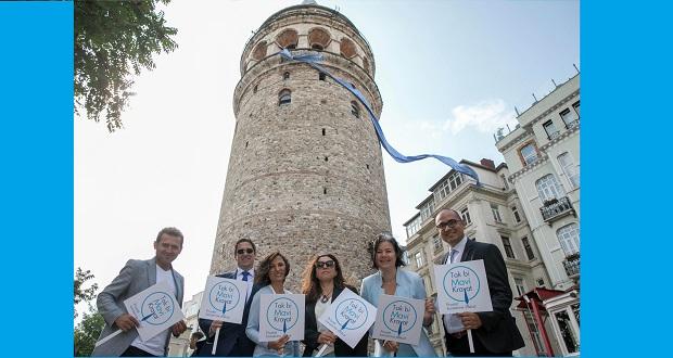Prostat Kanserine Dikkat Çekmek İçin Galata Kulesi'ne Mavi Kravat Takıldı